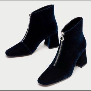 NWT ZARA Chunky High Heel Ankle Boots size US 6.5